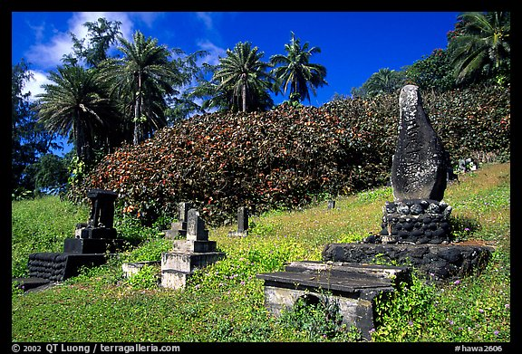 Japanese cemetery in Hana. Maui, Hawaii, USA (color)