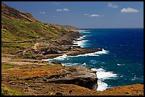 Coastline and highway, South-East. Oahu island, Hawaii, USA ( color)