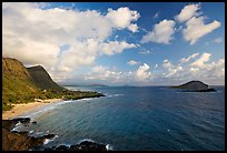 Makapuu Beach and offshore islands, early morning. Oahu island, Hawaii, USA ( color)