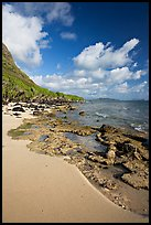Beach and rocks near Makai research pier,  early morning. Oahu island, Hawaii, USA ( color)