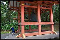 Boy ringing the buddhist bell, Byodo-In temple. Oahu island, Hawaii, USA (color)