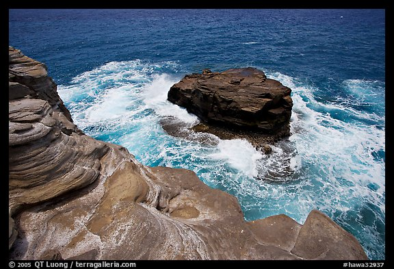 Layered rocks, Portlock. Oahu island, Hawaii, USA (color)