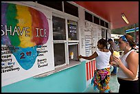 Women ordering shave ice, Waimanalo. Oahu island, Hawaii, USA (color)