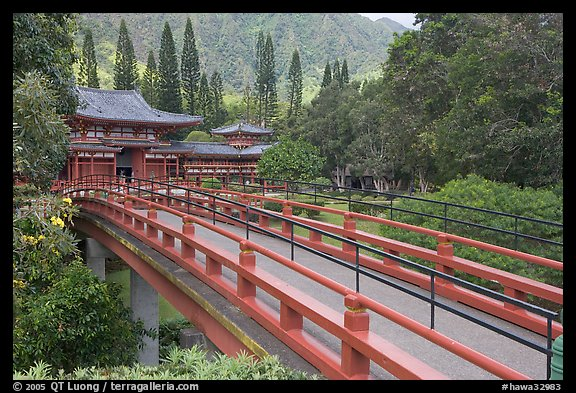 Red bridge leading to Byodo-In Temple. Oahu island, Hawaii, USA (color)