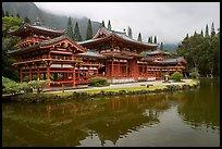 Byodo-In temple reflected in pond on a cloudy day. Oahu island, Hawaii, USA