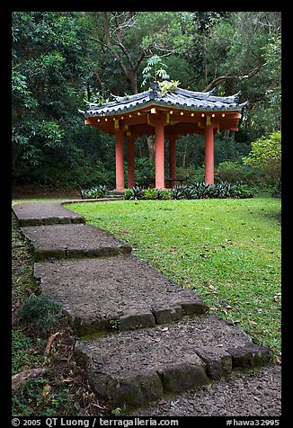Fishing Hut Pavilion, Byodo-In temple. Oahu island, Hawaii, USA (color)