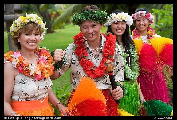 People in Tahitian dress. Polynesian Cultural Center, Oahu island, Hawaii, USA (color)