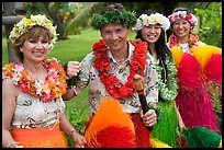 People in Tahitian dress. Polynesian Cultural Center, Oahu island, Hawaii, USA