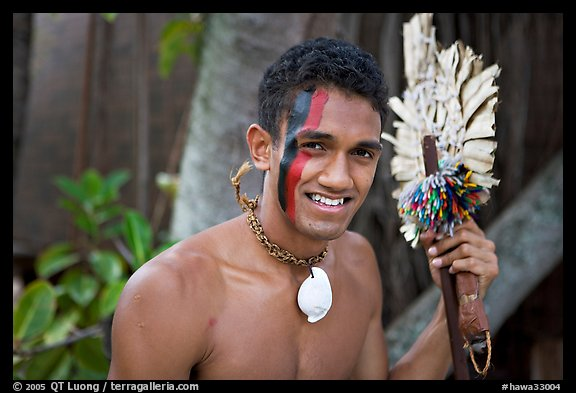 Fiji man with traditional face painting. Polynesian Cultural Center, Oahu island, Hawaii, USA (color)
