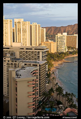 High rise hotels and beach seen from the Sheraton glass elevator, late afternoon. Waikiki, Honolulu, Oahu island, Hawaii, USA (color)
