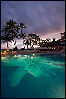 Swimming pool at sunset, Halekulani hotel. Waikiki, Honolulu, Oahu island, Hawaii, USA (color)