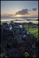 Heiau and ocean at sunrise. Oahu island, Hawaii, USA ( color)