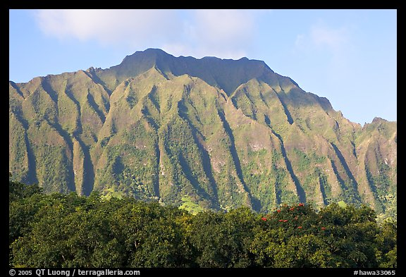 Fluted mountains, Koolau range, early morning. Oahu island, Hawaii, USA (color)
