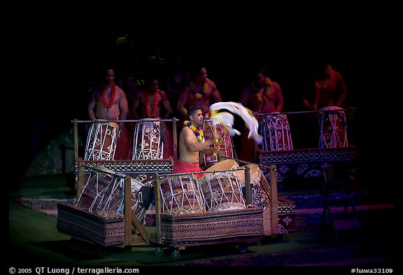 Tonga drummers on stage. Polynesian Cultural Center, Oahu island, Hawaii, USA (color)