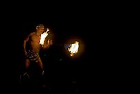 Traditional Samoan fireknife dance. Polynesian Cultural Center, Oahu island, Hawaii, USA (color)