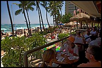 Beachside bar. Waikiki, Honolulu, Oahu island, Hawaii, USA (color)
