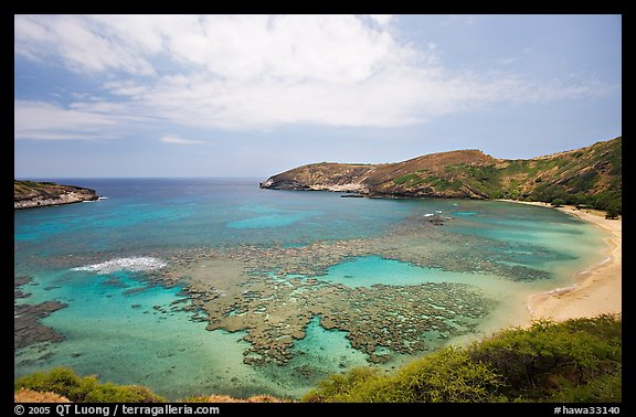 Hanauma Bay with no people. Oahu island, Hawaii, USA (color)