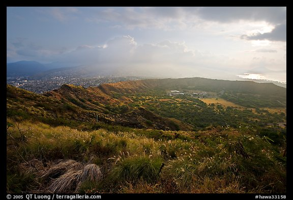 Diamond Head crater, early morning. Oahu island, Hawaii, USA (color)