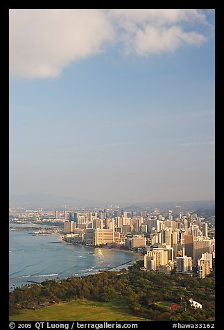 Honolulu seen from the Diamond Head crater, early morning. Waikiki, Honolulu, Oahu island, Hawaii, USA (color)