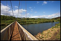 Swinging bridge, Hanapepe. Kauai island, Hawaii, USA (color)