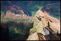 Shadows and light on ridges, Waimea Canyon, afternoon. Kauai island, Hawaii, USA (color)