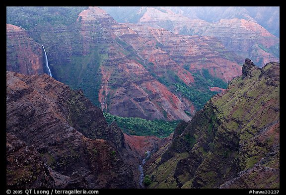 Waipoo falls and Waimea Canyon, dusk. Kauai island, Hawaii, USA (color)