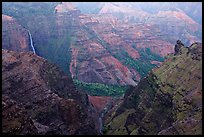 Waipoo falls and Waimea Canyon, dusk. Kauai island, Hawaii, USA ( color)