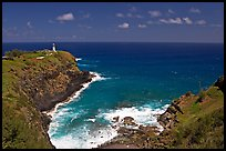 Kilauea Lighthouse and cove. Kauai island, Hawaii, USA (color)