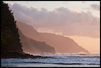Na Pali Coast seen from Kee Beach, sunset. Kauai island, Hawaii, USA