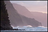Na Pali Coast and surf seen from Kee Beach, sunset. Kauai island, Hawaii, USA ( color)