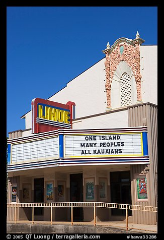 Movie theater with text celebrating Kauai, Lihue. Kauai island, Hawaii, USA (color)
