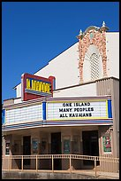 Movie theater with text celebrating Kauai, Lihue. Kauai island, Hawaii, USA ( color)