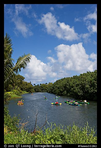 Kayakers, Hanalei River. Kauai island, Hawaii, USA (color)