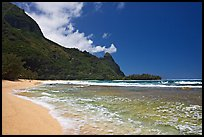 Tunnels Beach, and Makua Peak. North shore, Kauai island, Hawaii, USA ( color)