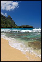 Tunnels (Makua) Beach and Bali Hai Peak. North shore, Kauai island, Hawaii, USA ( color)