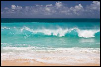 Breaking wave and turquoise waters, Haena Beach Park. North shore, Kauai island, Hawaii, USA (color)