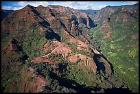 Aerial view of Waimea Canyon. Kauai island, Hawaii, USA ( color)