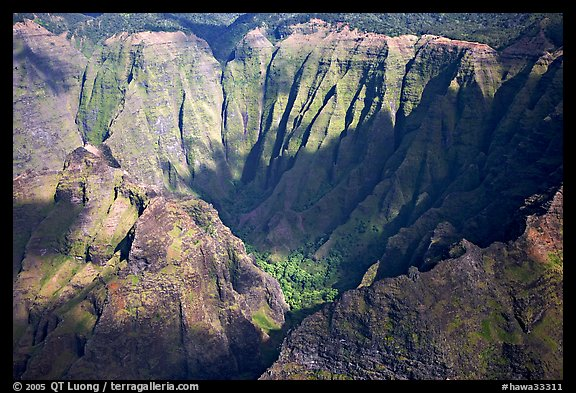 Aerial view of a crater, Na Pali Coast. Kauai island, Hawaii, USA (color)