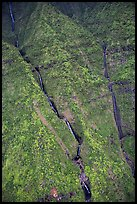Aerial view of waterfalls on the slopes of Mt Waialeale. Kauai island, Hawaii, USA