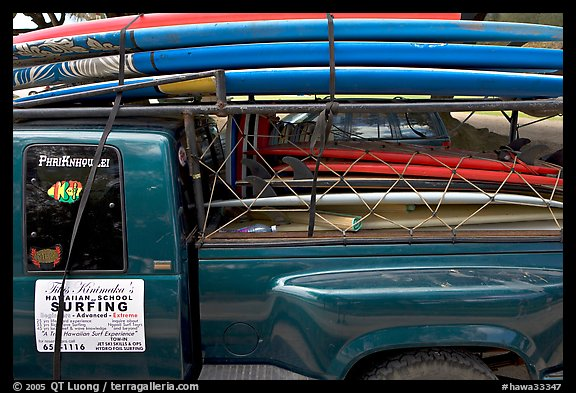Pick-up truck loaded with surfboards, Hanalei. Kauai island, Hawaii, USA (color)