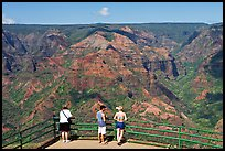 Tourists,  Waimea Canyon lookout. Kauai island, Hawaii, USA (color)