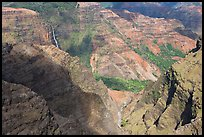 Waipoo falls and Waimea Canyon, afternoon. Kauai island, Hawaii, USA ( color)