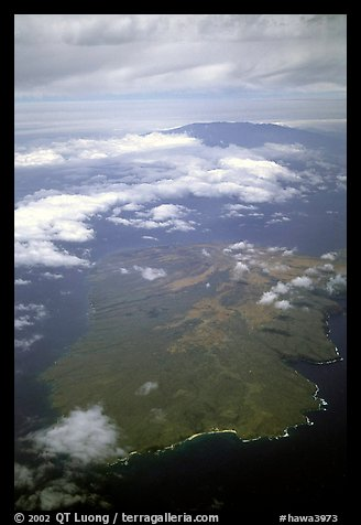 Aerial view of Kohoolawe, Maui in the background. Maui, Hawaii, USA (color)