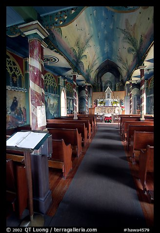 Interior of Saint Benedict Catholic Church called Painted Church. Big Island, Hawaii, USA (color)