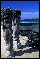 Statues of polynesian idols, Puuhonua o Honauau National Historical Park. Big Island, Hawaii, USA (color)