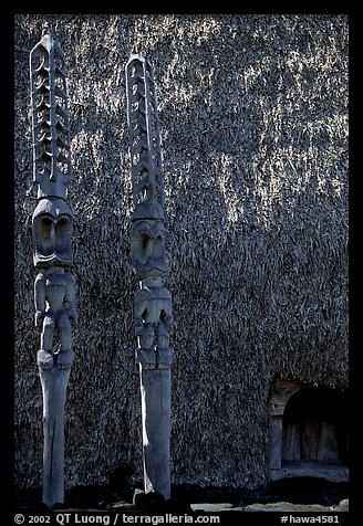 Statues of Polynesian gods,  Puuhonua o Honauau (Place of Refuge). Big Island, Hawaii, USA (color)