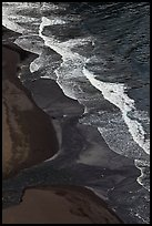 Surf and black sand beach from above, Waipio Valley. Big Island, Hawaii, USA ( color)
