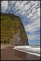 Black sand beach and cliff, Waipio Valley. Big Island, Hawaii, USA ( color)