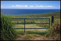 Gate, field, and Ocean. Big Island, Hawaii, USA (color)