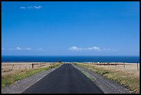 Road and Pacific Ocean, South Point. Big Island, Hawaii, USA